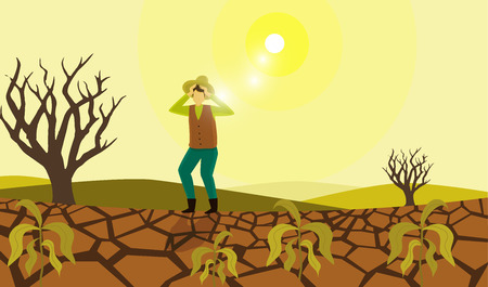 干ばつ被害に苦しむ農家
