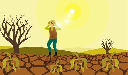 Granjero sufriendo daño por sequía