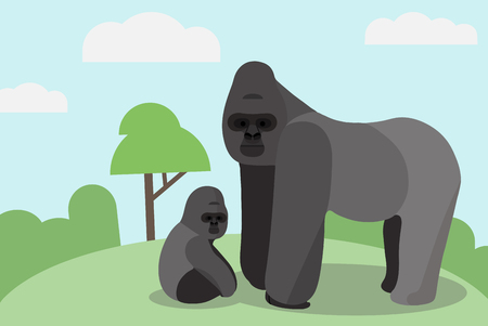 Gorilla in the wild Vector illustration.