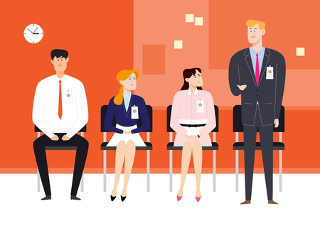 Multiracial people doing job interview, vector illustration.