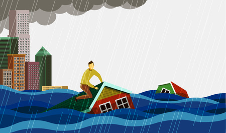 Flooded city with Man on partially submerged house