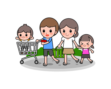 Happy family shopping, vector illustration.