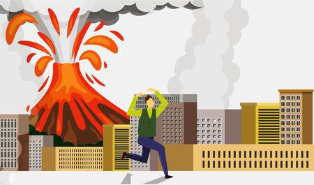 Man avoiding from the eruption of a volcano Illustration