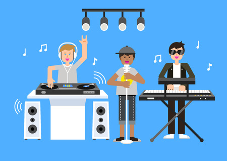 Hip-hop musical group performing on blue background. Illustration