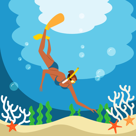 Woman enjoying skin scuba, vector illustration.