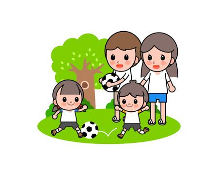Happy family playing soccer, vector illustration. Illustration