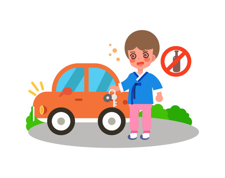Don't drink and drive on Chuseok, vector illustration.