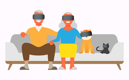 The aged couple with virtual reality headset