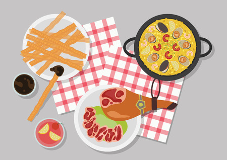 Top view of restaurant table, vector illustration.