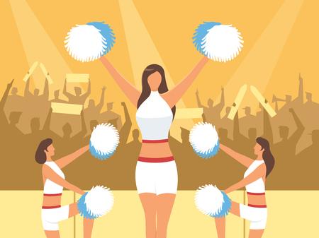 Cheerleaders on people silhouette, vector illustration.