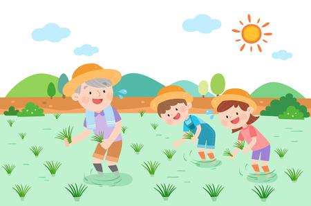 Large family planting rice, vector illustration.  イラスト・ベクター素材