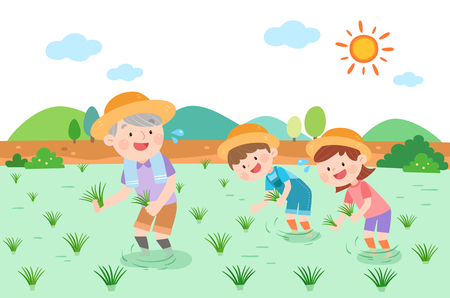 Large family planting rice, vector illustration. Çizim