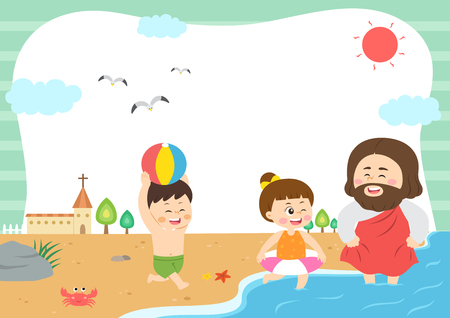 Children attending bible camp, vector illustration.