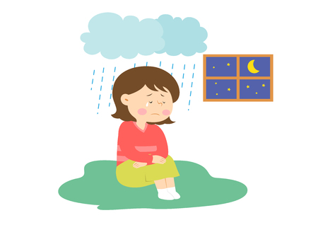 Woman feels gloomy, vector illustration.