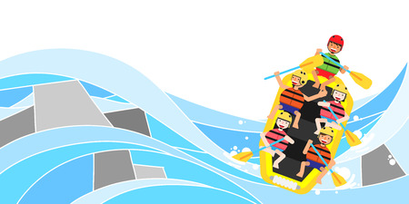 People enjoying summer leisure sport, vector illustration.