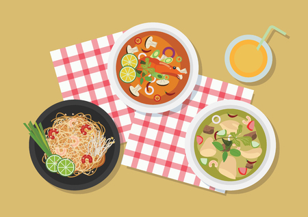 Top view of Thailand restaurant table, vector illustration.