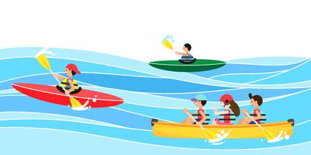 People enjoying summer leisure sport, vector illustration.  イラスト・ベクター素材