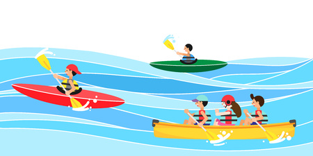 People enjoying summer leisure sport, vector illustration. Çizim