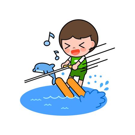 Boy enjoying summer leisure sport, vector illustration.
