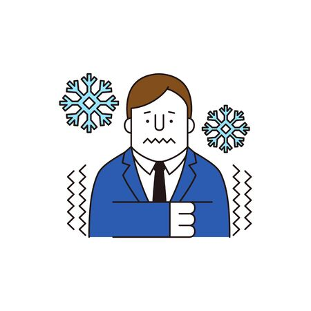 Businessman feels freeze, vector illustration.