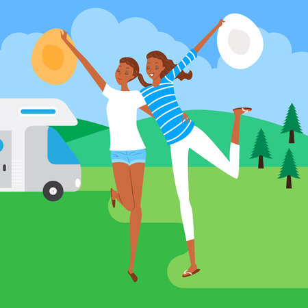 Women enjoying camping, vector illustration.
