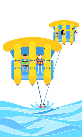 People enjoying summer leisure sport, vector illustration. Illustration