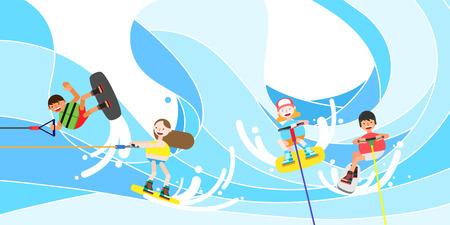 People enjoying summer leisure sport, vector illustration. Illusztráció