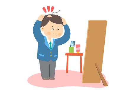 Businessman having partial hair loss, vector illustration. Illustration