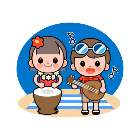 Children playing music instrument on beach, vector illustration.