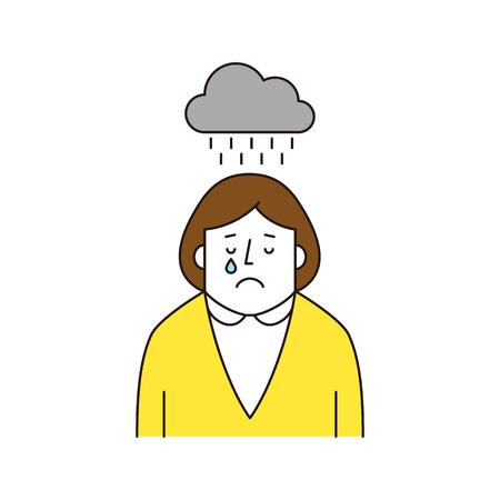 Businesswoman feels gloomy, vector illustration.