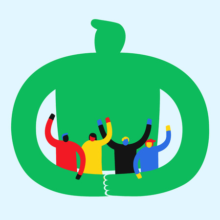 Global people in cooperation Illustration