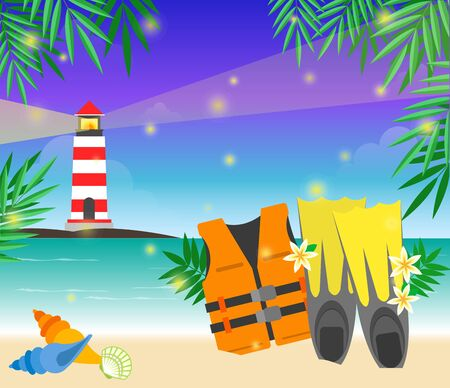 Safe vest on beach with lighthouse, vector illustration.