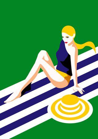 Woman in swim wear posing, vector illustration.