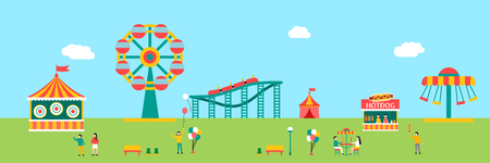 Amusement park horizontal with people, vector illustration.