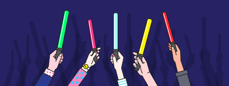 People Hand holding cheering stick Illustration