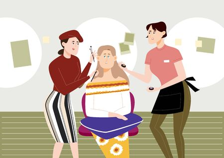 Beautiful woman getting a make up, vector illustration. Illustration