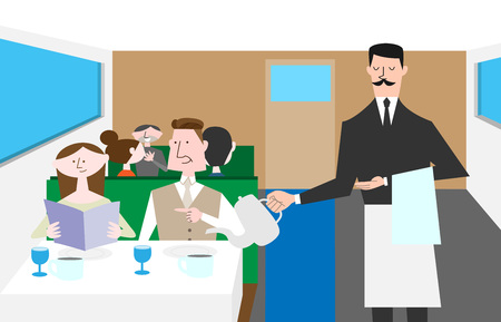Waiter serving the table in restaurant, vector illustration. Illustration