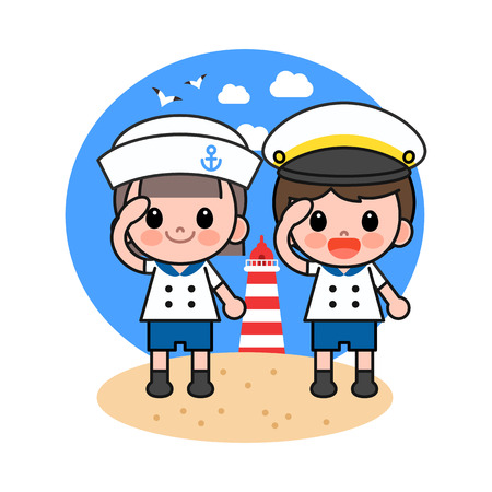 Children in voyage costume giving a salute, vector illustration.