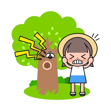 Girl irritating cicada sound, vector illustration.