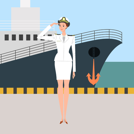 Female captain of ship giving a salute, vector illustration.