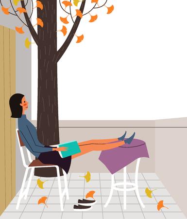 Woman reading book on terrace, vector illustration.