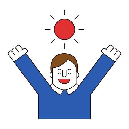 Businessman feels happy, vector illustration.