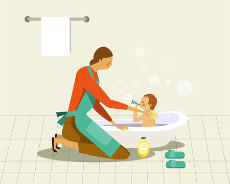 Mother washing baby in the bath Illustration