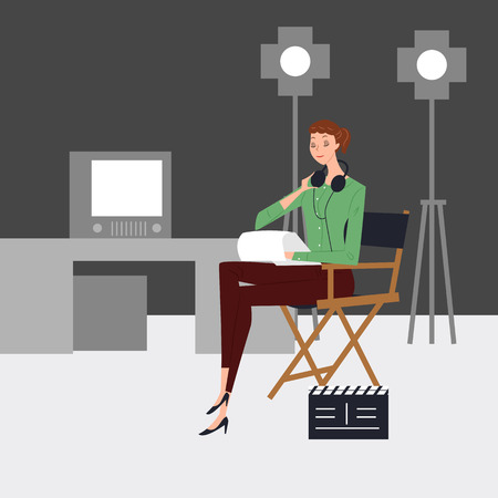 Director working at broadcasting station, vector illustration.