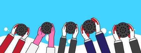 People Hand holding briquette, volunteer Illustration