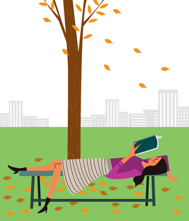 Woman reading book on bench, vector illustration.