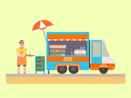 Fruit juice food truck set flat design, vector illustration.