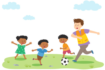 Man playing soccer with Africa children, vector illustration.