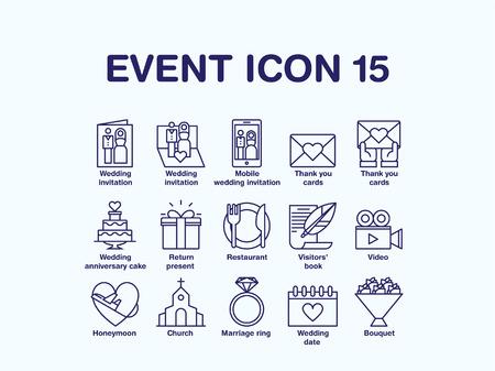 Set of various wedding icon Illustration