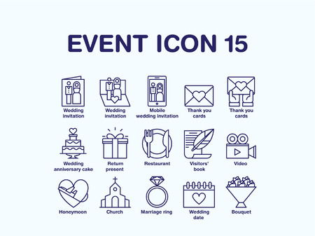 Set of various wedding icon